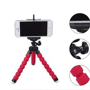 NOW Flexible Octopus Mobile Tripod Stand & Mobile Camera Lens – Bundle – Red