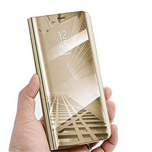 NOW  Oppo F9 Flip Clear View Standing Case Cover – Golden