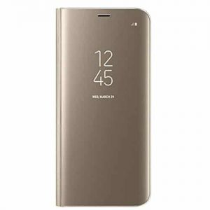 Samsung S8 Clear View Standing Flip Cover – Golden