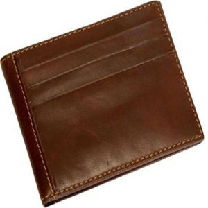 Dark Brown Cow Leather Wallet with Flap ID Window for Men