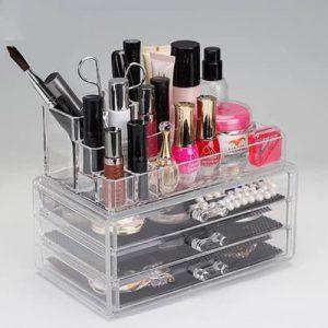 Acrylic 4 Drawers 12 Trapezoid Lipstick Makeup Display Stand Cosmetic Organizer Holder Case jewelry Box Storage