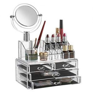 All in One Makeup Organizer Box with Mirror