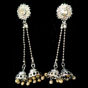 Antique Zircon Long Earring with Center White Stone Jewellery Silver Jhumka for women– Light Brown