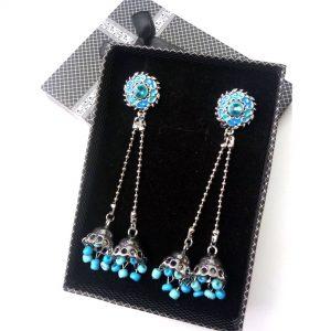 Antique Zircon Long Earring with Center Faroza Stone Jewellery Silver Jhumka for women