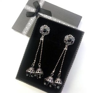 Antique Zircon Long Earring with Center Black Stone Jewellery Silver Jhumka for women