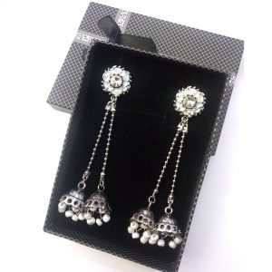 Antique Zircon Long Earring with Center  Brown Stone Jewellery Silver Jhumka for women