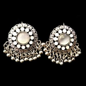 Traditional Antique Jewellery With white Pearls Silver Earrings For Women