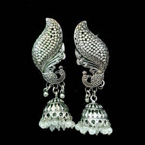 Beautiful Unique Antique Jewellery Silver Jhumka for women Drop Earrings Peacock Style