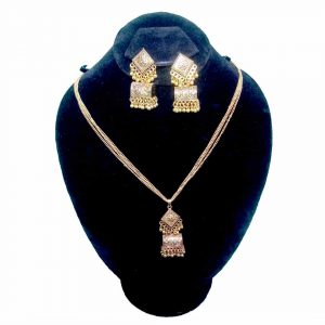 Dholki Style Indian Golden Necklace Set With Fashionable Jhumka Earrings