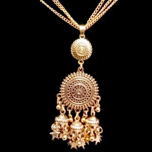 Antique Golden Necklace Set With Fashionable Jhumka Earrings Latest Style