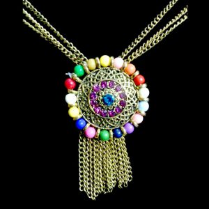 Kashmiri Style Multicolor pearls fashionable stylish Necklace Set With Earinngs.