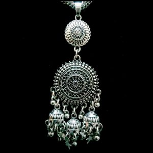 Antique Silver Necklace Set With Fashionable Jhumka Earrings Latest Style