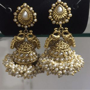 Traditional Antique Style Golden Jhumka With White Pearls For Women