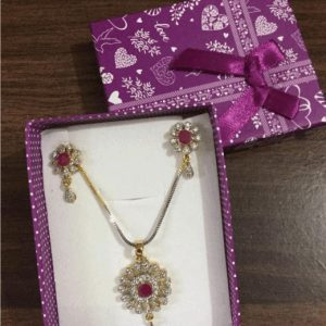 Traditional 1 karat Necklace With Drop Earring In Zircon With Shinning Gold & Silver Stones