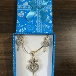 Traditional 1 karat Necklace With Rose Flower Earring Style In Shinning Gold & Silver Stones