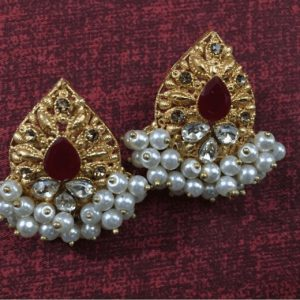 Beautiful Antique Golden Drop Earring in Center Red Zircon With Pearl for women