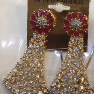 Traditional 1 karat Drop Down Earring With Zircon & White Stones for Womens