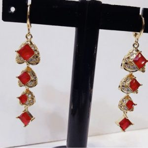 Traditional Red Zircon & Pearl Jewellery With Golden Style in Long Earring For Girls & Womens