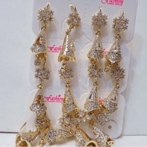 Traditional Zircon & Pearl Jewellery With Gold Style in Long Earring For Girls