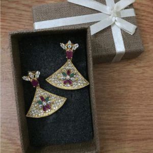 Traditional 1 karat Drop Earring With Green, Purple Zircon & White Stone for Womens