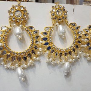 Traditional kundan Jewellery With Fashionable Round Earring With Different Stones & Pearls
