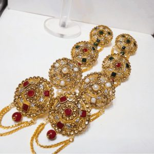 Traditional Antique Golden Indian Style Round Shape Earrings for women