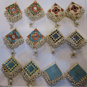 Traditional Painted Jewellery With Pearls in Stud Style Earring For Girls & Womens
