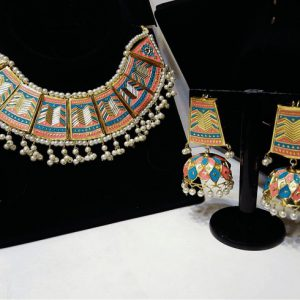 Traditional Painted Jewellery Necklace Set With Beautiful Jhumka For Girls & Womens