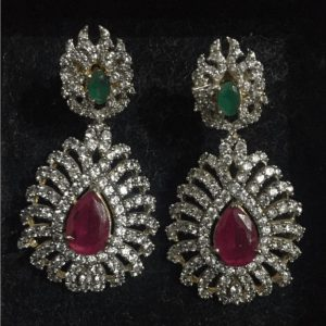 Traditional 1 karat Golden Drop Earring With Shinning Green & Red Stone for Girls & Womens