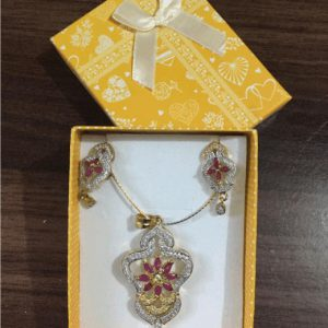Traditional 1 karat Necklace With Drop Earring In Purple Zircon With Shinning Gold & Silver Stones