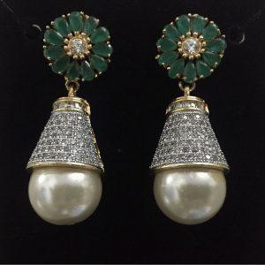 Traditional 1 karat Golden Drop Earring With Shinning White Pearl & Green Stone Girls & Womens