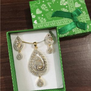 Traditional 1 karat Necklace With Stud Earring In Shinning Gold & Silver Stones For Women