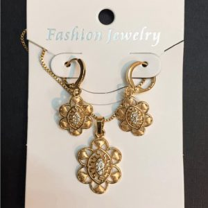 Traditional Indian Gold Necklace Set With Round Shape Earring Center White Zircon