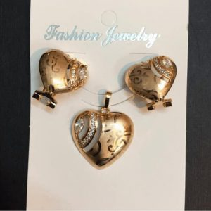 Traditional Indian Gold Necklace Set With Heart Style Earring Center White Stones