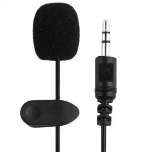 Clip-on Lapel Lavalier Collar Mic / Microphone – 3.5mm For DSLR / Other Equipment / Youtube – Black