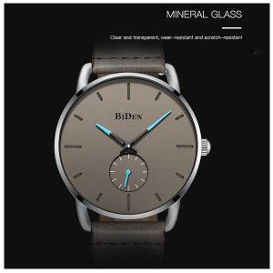 Poruis BIDEN Watches Men'S Simple Fashion Quartz Watch Waterproof Leather Strap Wristwatch