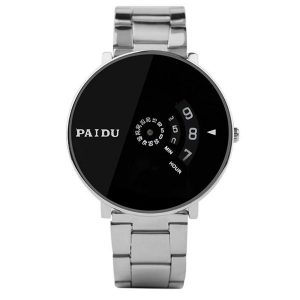 Clearance Wristwatch Stainless Silver Band PAIDU Quartz Wrist Watch Black Turntable Dial Men's Gift