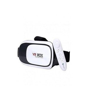 Virtual Reality Box Version 2 3D Glasses With Remote – White & and Black
