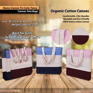 Heavy Canvas Tri-Color stylish Canvas Tote Bags Amazing Price