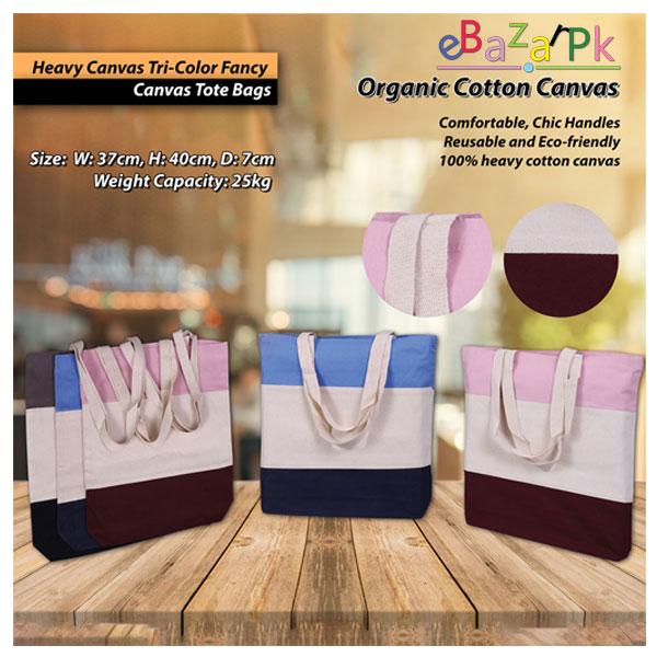 Tri-Color Fancy Canvas Tote Bags