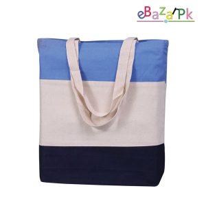 Comfortable eco-friendly Tri-Color Fancy Canvas Tote Bags